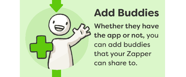 Add Buddies - Whether they have the app or not, you can add buddies that your Zapper can share to
